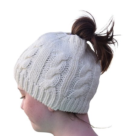 166710d63 Nickanny's Womens Crochet Messy Bun Beanie Slouchy Style With Hole For  Ponytail Hat Perfect Work Out Hat or Running or Bad Hair Day (Ivory)