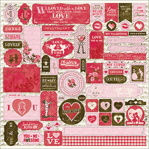 "Smitten Cardstock Stickers 12""X12""-Details Icons, Sentiments, Tags, Etc., Pk 3"