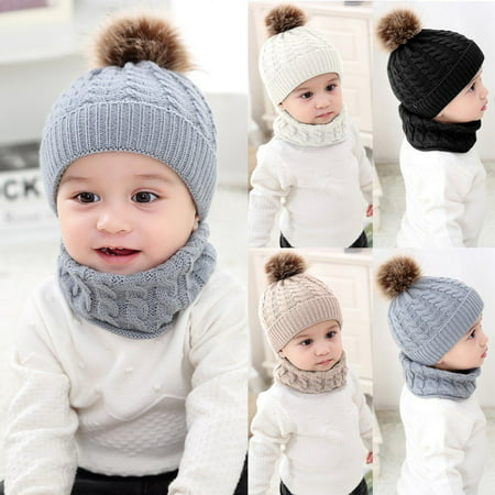 Toddler Kids Girl&Boy Baby Infant Winter Crochet Knit Hat Beanie Cap Scarf Set - White Witch Hat