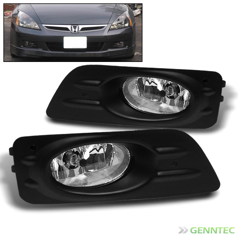 2006-2007 Honda Accord 4 Door Replace Bumper Fog Lights+Switch+Bulbs+Harness Pair Left+Right