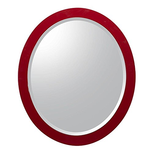 Esley 28 in. L x 24 in. W Wall Hung Mirror in Gloss Red