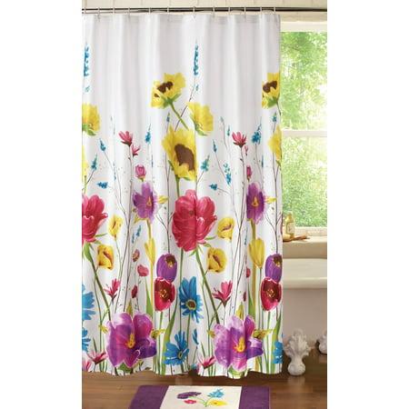 Colorful Design Floral Prisma Bathroom Shower Curtain To Bring A Springtime Garden Feel To Your Bathroom