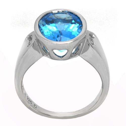 De Buman Genuine Swiss Blue and White Topaz Sterling Silver Ring by Overstock