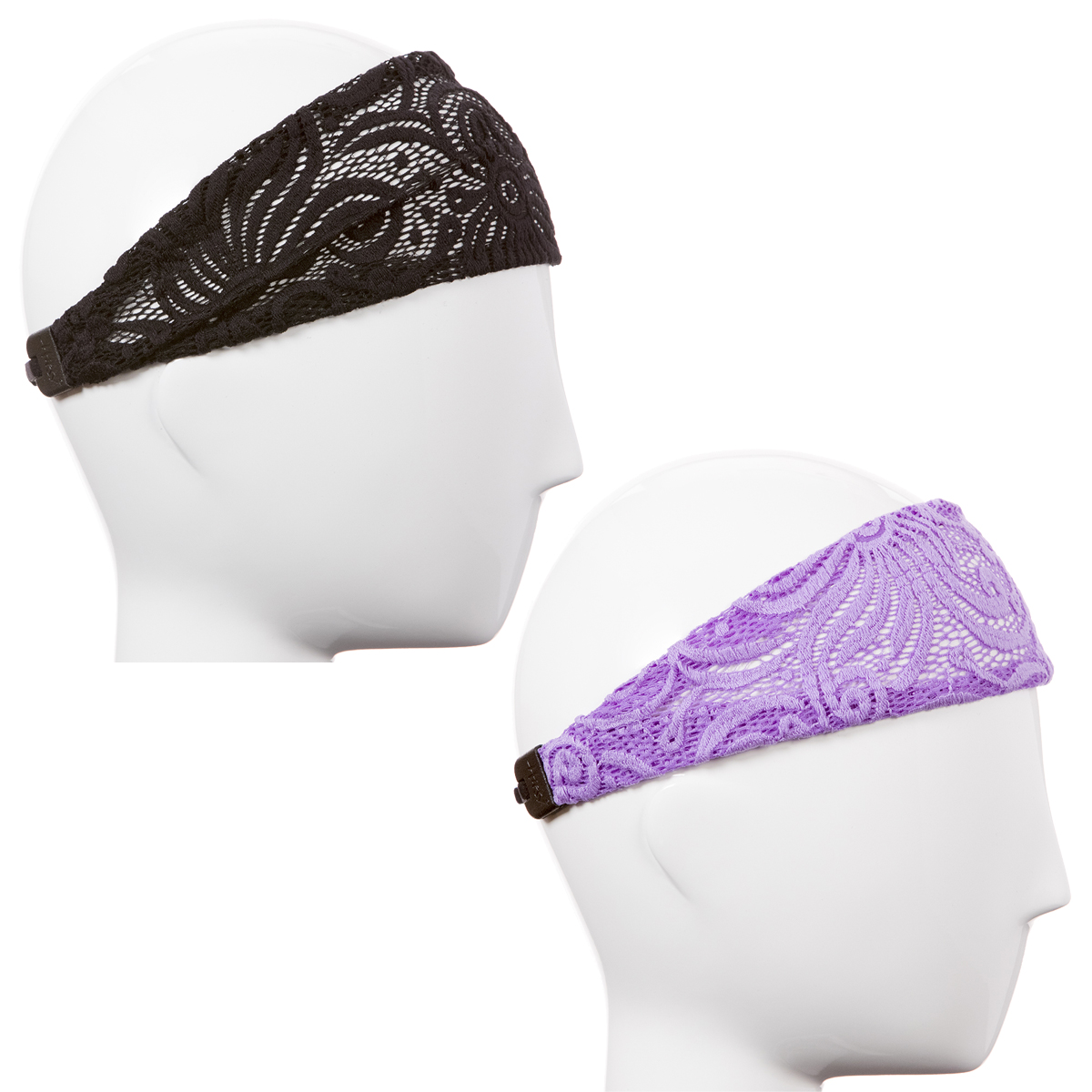 Hipsy Xflex Adjustable & Stretchy Lace Headbands for Women Gift Pack (Lace Black & Purple 2pk)
