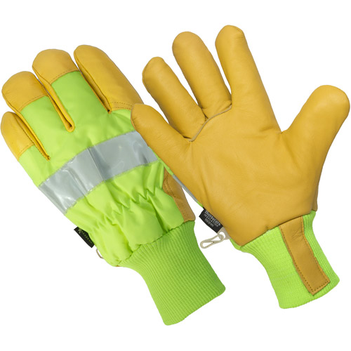 Hands On The Ignitor,  Thinsulate Lined Hi Viz Premium Goat Grain Leather Palm Glove, 100% Waterproof
