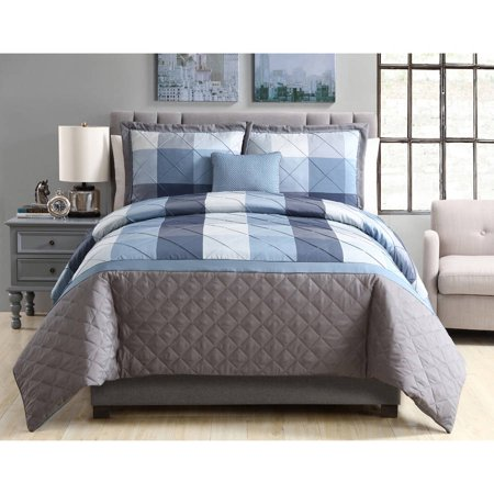 - Better Homes and Gardens Elliot Plaid 4-Piece Bedding Duvet Cover Set, Decorative Pillows and Shams Included