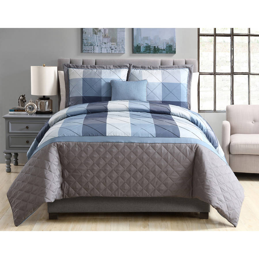 Better Homes and Gardens Elliot Plaid 4-Piece Bedding Duvet Cover Set, Decorative Pillows and Shams Included