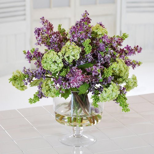 Jane Seymour Lilacs 18 in. Silk Flower Arrangement