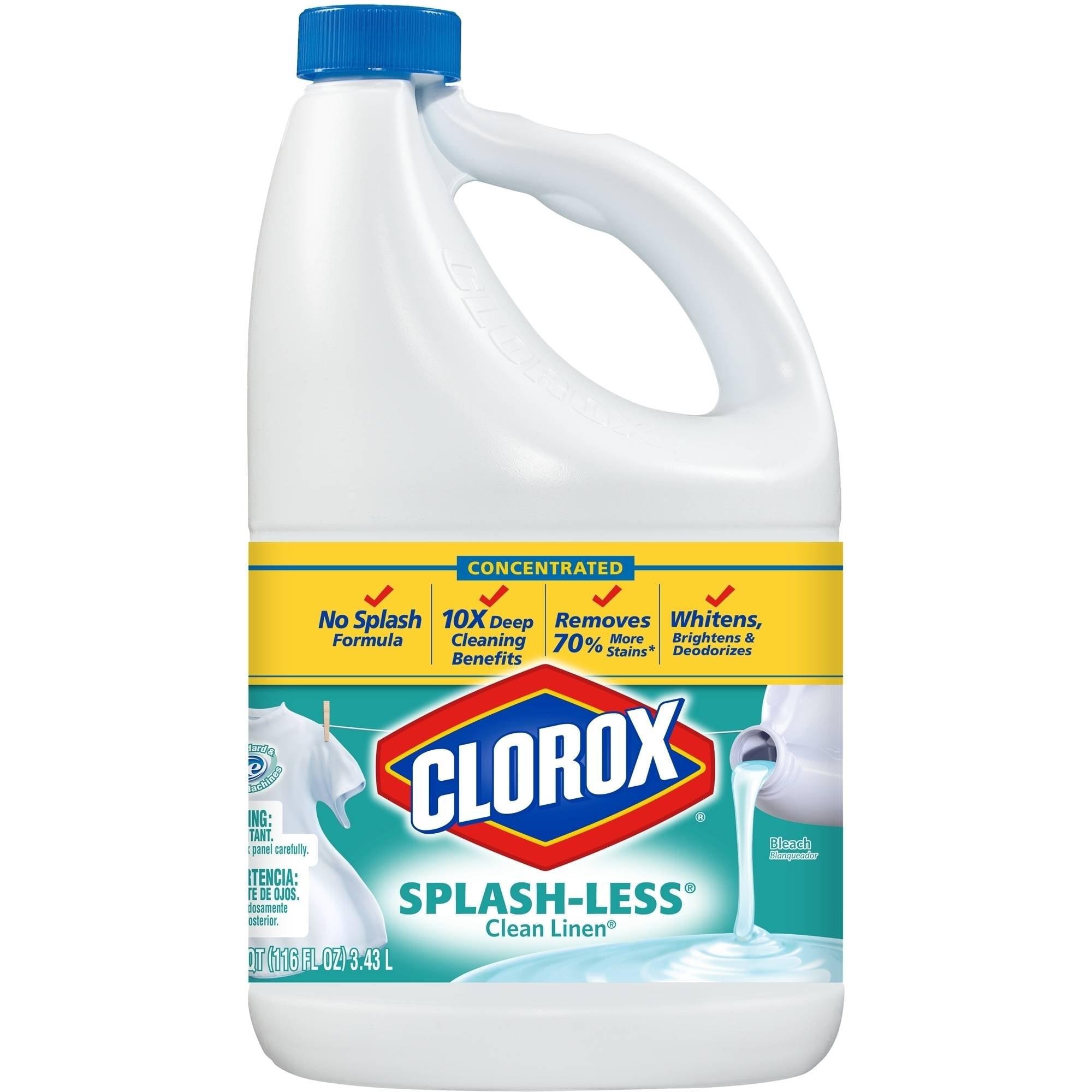 Clorox Splash-less Scented Bleach, Concentrated Clean Linen, 116 Fluid Ounces