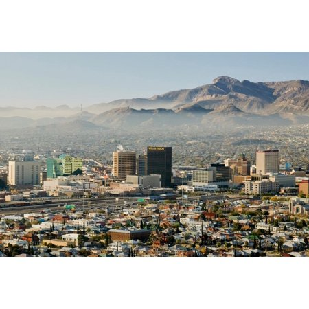 Panoramic view of skyline and downtown El Paso Texas looking toward Juarez, Mexico Print Wall