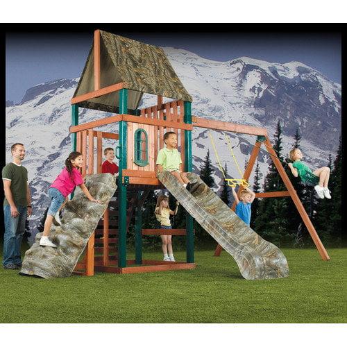 Swing-n-Slide 132'' x 180'' Real Tree Sportsman Wood Complete Swing Set
