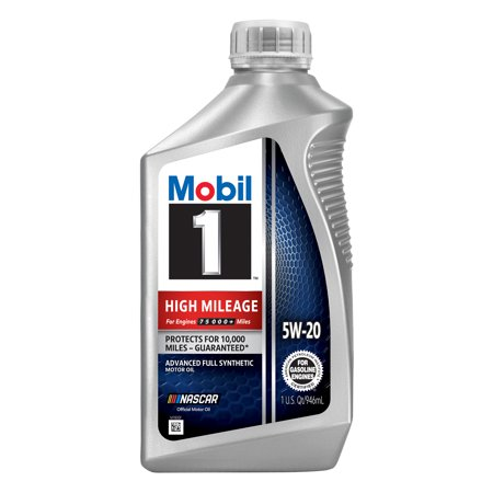 Mobil 1 High Mileage Full Synthetic Motor Oil 5W-20, 1 Quart
