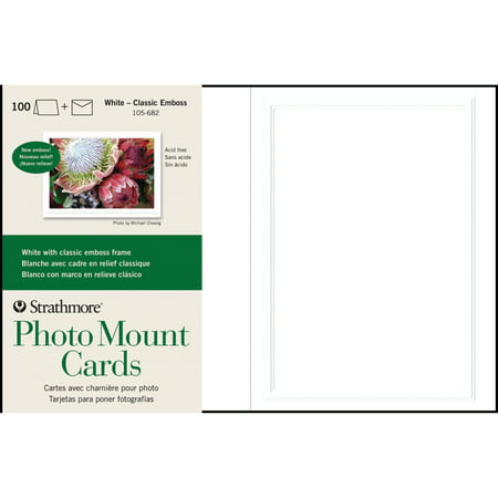 Strathmore Photo Mount Cards, 5in x 7in, White Classic Embossed, 100/Pkg. ()