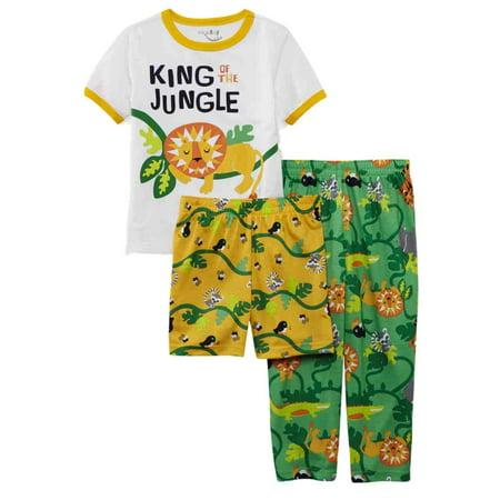 Joe Boxer Infant Toddler Boys 3 Piece King Of The Jungle Pajama Sleepwear Set 2T - Infant Halloween Costumes Boxer