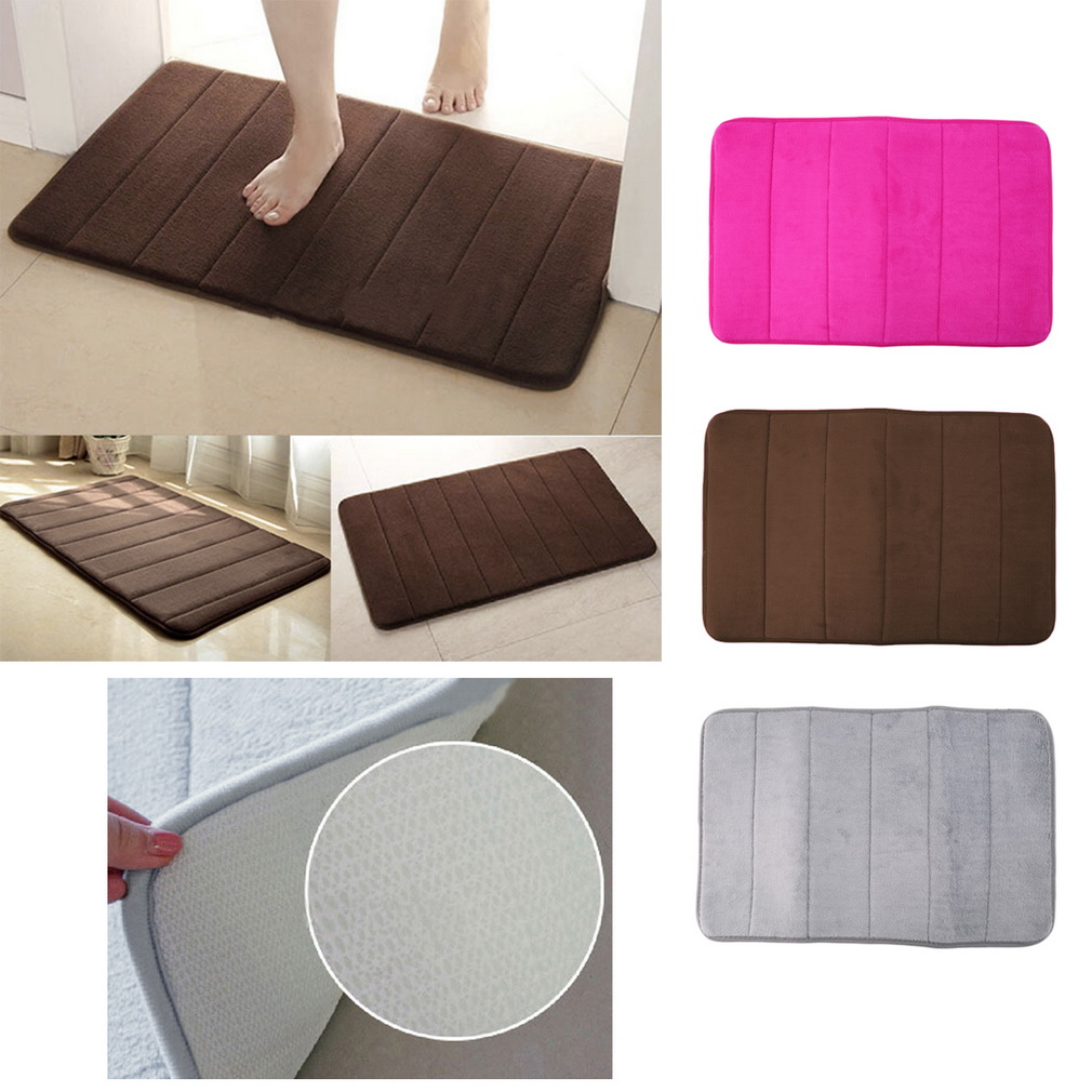 Memory Foam Bath Pad Bathroom Water Absorbent Non-slip Mats Shower Carpet