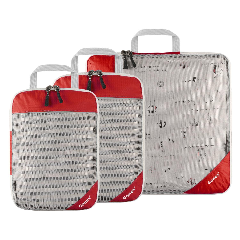 Gonex Compression Packing Cubes, Extensible Storage Mesh Bags Organizers L+M+S Size 6 Colors Options