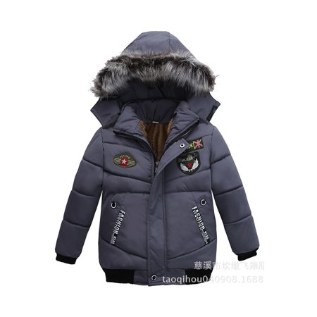 Toddler Boys Hooded Warm Winter Jacket