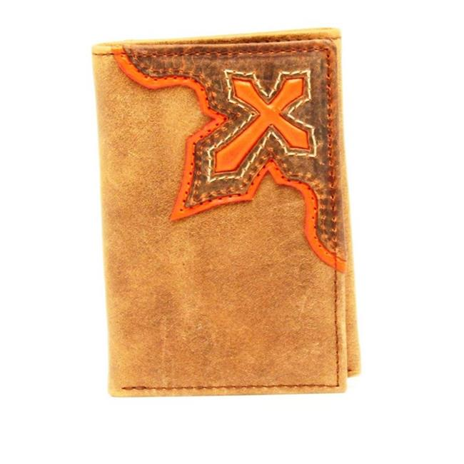 Nocona Belt N5415444 Orange Cross Inlay Tri-Fold Wallet, Medium Brown - One Size - image 1 of 1
