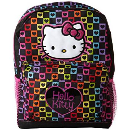 "Backpack - Hello Kitty - Rainbow Hearts Checker  16"" School Bag New 819726"