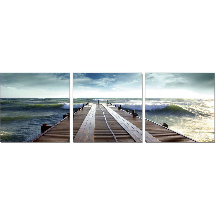 "Furinno SeniA Bridge 3-Panel MDF Framed Photography Triptych Print, 48"" x 16"""