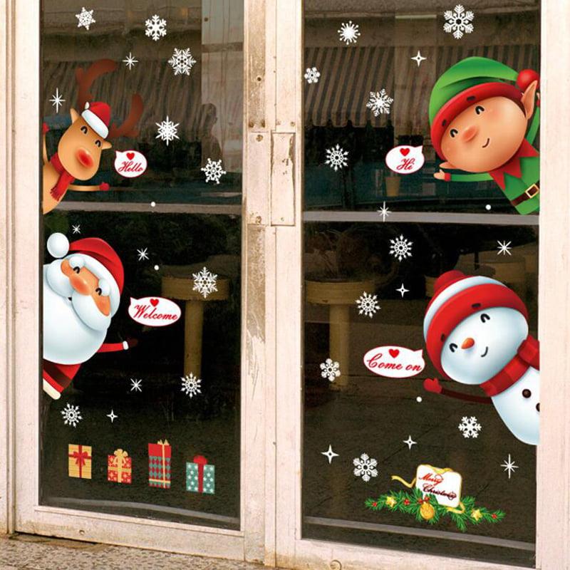 Large Christmas Snowman Snowflake Santa Wall Decal PVC Window Sticker Decora Lin