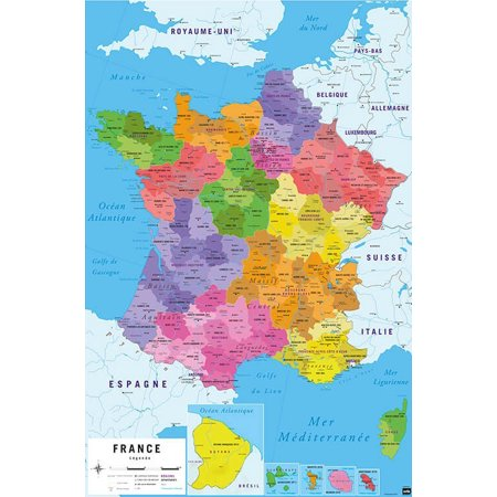 Clear Map Of France.Map Of France Carte De France Poster Print Republique Francaise French Language Map Size 24 X 36 Clear Poster Hanger