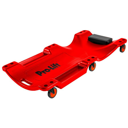Pro Lift C-6040 Mechanic Plastic Creeper 40 Inch - Blow Molded Ergonomic HDPE Body with Padded Headrest & Dual Tool Trays - 350 Lbs Capacity Red - Swamp Creeper