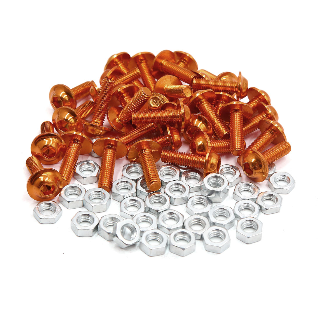 35pcs M6 Orange Aluminum Alloy Hex Socket Head Motorcycle Bolts Screws Nuts