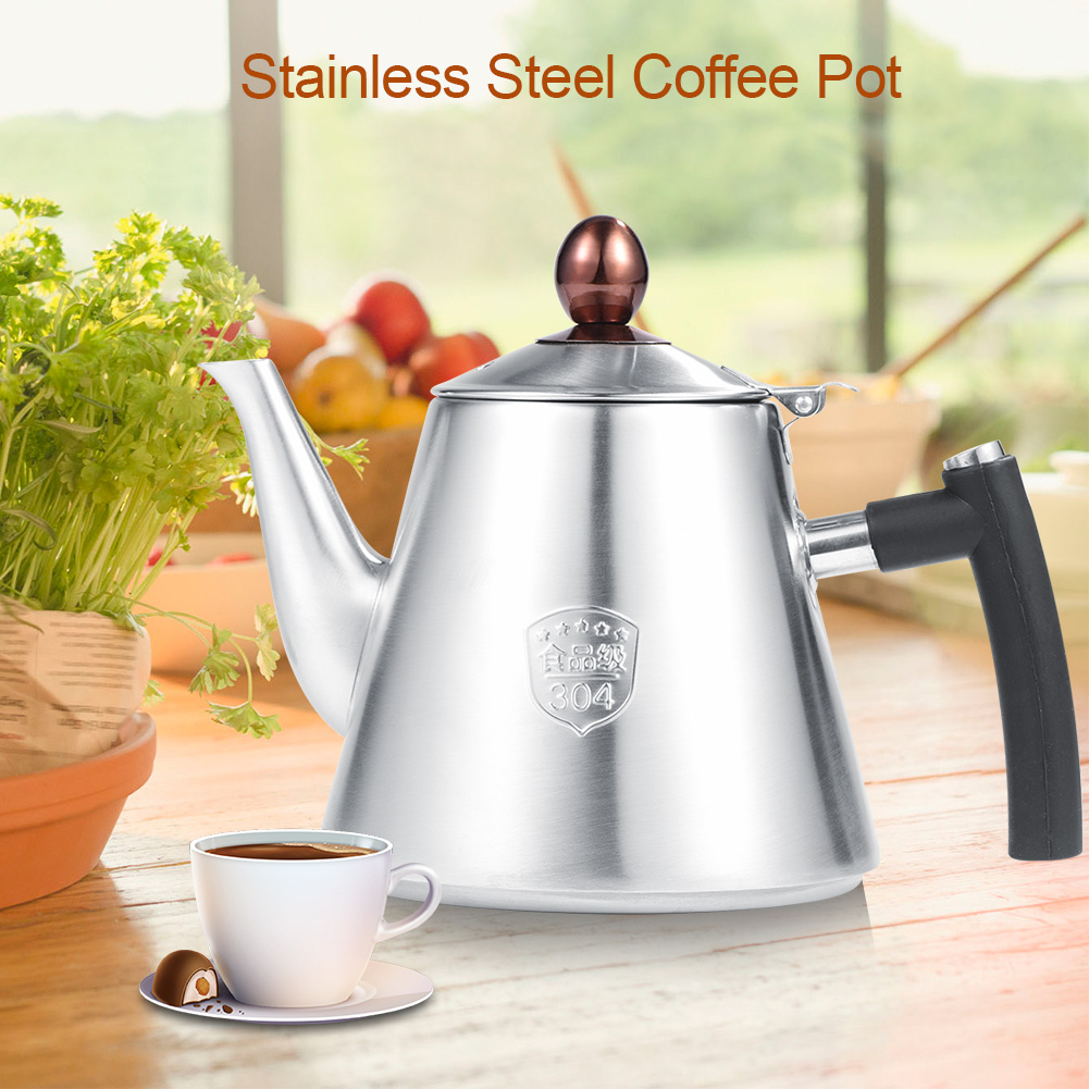 Stainless Steel Teapot 1.2L Anti-Slip Tea Coffee Pot Kettle Heat Resistant Silicone Handle 1#