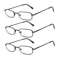 EYE-ZOOM 3 Pack Classic Spring Hinged Rectangular Metal Reading Glasses for Men and Women, Black, +1.25 Strength