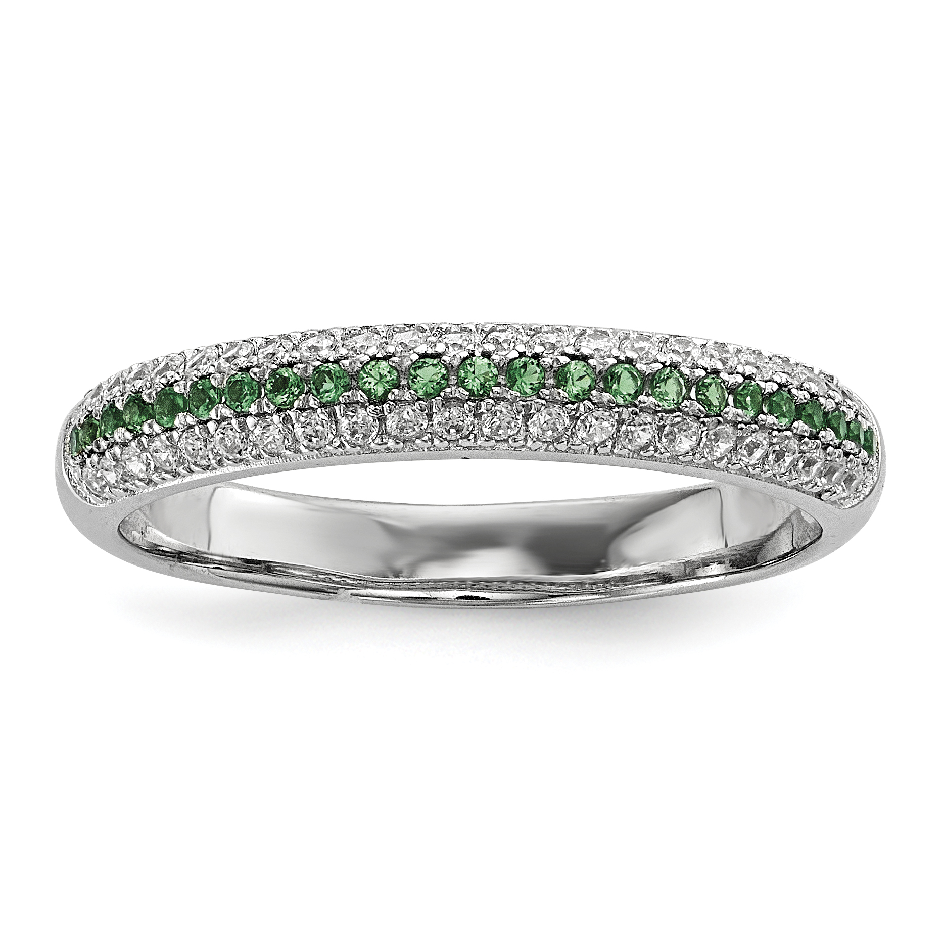 925 Sterling Silver Green White Cubic Zirconia Cz Band Ring Size 6.00 Wedding Fancy Fine Jewelry Gifts For Women For Her - image 5 of 5