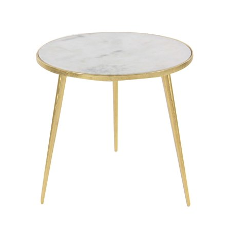 Art Marble 21 Halloween (Decmode Modern 20 x 21 inch white marble round accent table with gold aluminum rim and legs, Gold,)