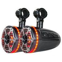 "DS18 8"" Marine Tower Speakers Compression RGB 550W Carbon Fiber CF8TPBNEO"