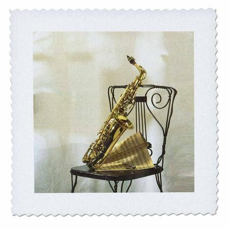 3dRose Gold Sax n Sheet music On Chair - Quilt Square, 10 by 10-inch Church Choir Sheet Music