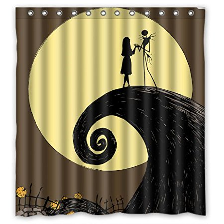 The Nightmare Before Christmas Halloween Wallpaper (Ganma Halloween Nightmare Before Christmas Shower Curtain Polyester Fabric Bathroom Shower Curtain 66x72)