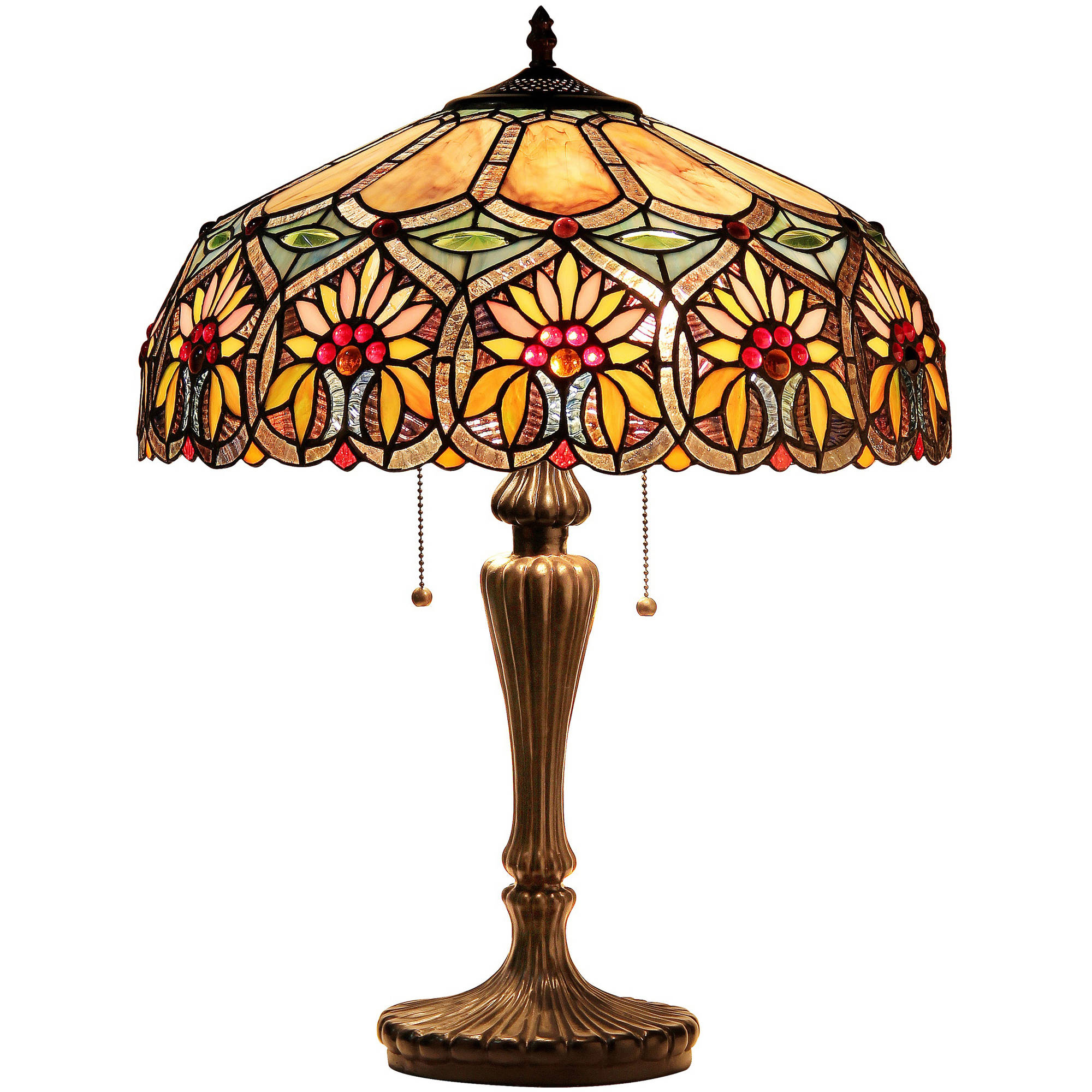 """Chloe Lighting Sunny Tiffany-Style 2-Light Floral Table Lamp with 18"""" Shade"""