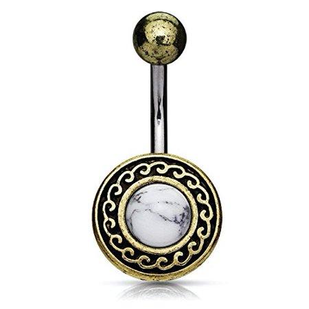 BodyJ4You® Belly Ring Button Navel Antique Shield Tribal White Howlite Stone Piercing (Heart Navel Shield)