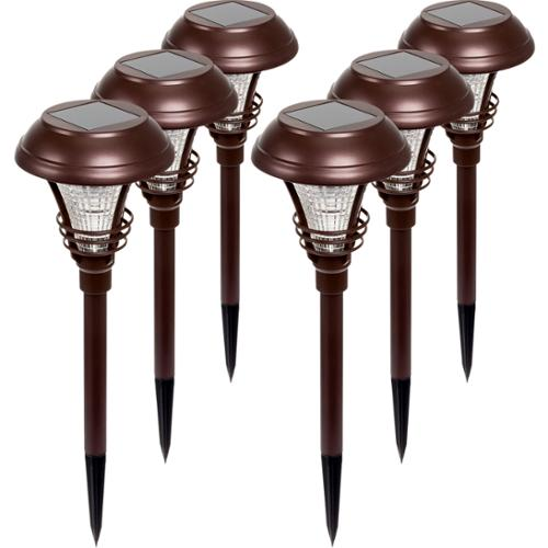 6 Pack WESTINGHOUSE NEW Brown Kenbury Solar Outdoor Garden LED Stake Path Lights