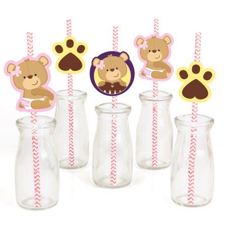 Girl Baby Shower Decor (Baby Girl Teddy Bear - Paper Straw Decor - Baby Shower  Striped Decorative Straws - Set of)