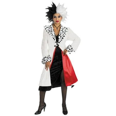 Cruella Deville Costumes (White and Black Cruella Prestige Adult Women's Halloween)
