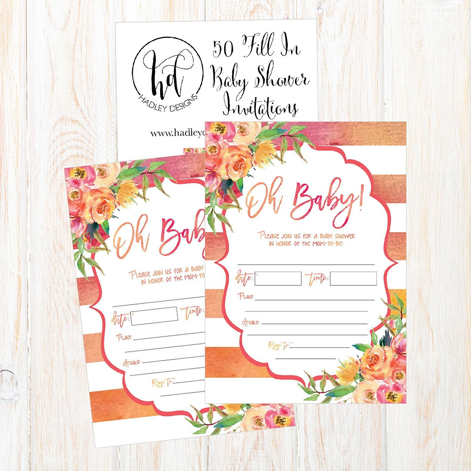 50 Fill In Cute Baby Shower Invitations Fl Pink And Gold Neutral Blank Invites For Invitation