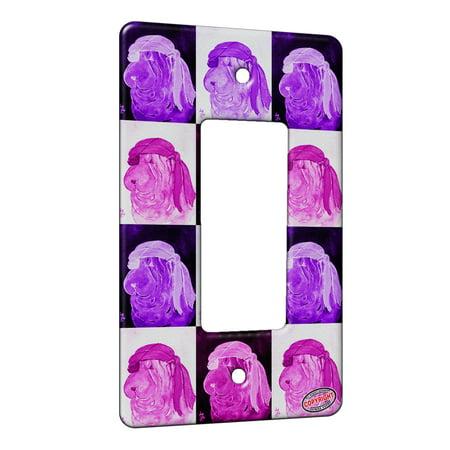 KuzmarK™ 1 Gang Rocker Wall Plate - Blue Chinese Shar Pei Pirate Dog Pink Pattern Art by Denise Every