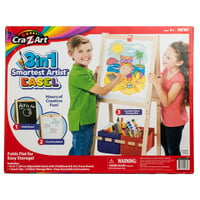 Cra-Z-Art 3-in-1 Smartest Artist Easel, Wood with Chalkboard and Dry Erase Board