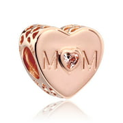Mother Heart, Clear CZ Mum heart Rose charm w/clear CZ Charm 781881CZ