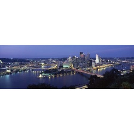 Buildings Along A River Lit Up At Dusk Monongahela River Pittsburgh Allegheny County Pennsylvania Usa Canvas Art   Panoramic Images  36 X 12