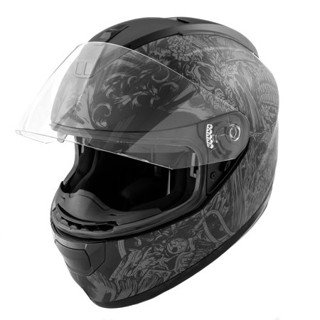 Dot Motorcycle Helmet Full Face Koi Skull Art Matte Grey W  Clear Visor   Large