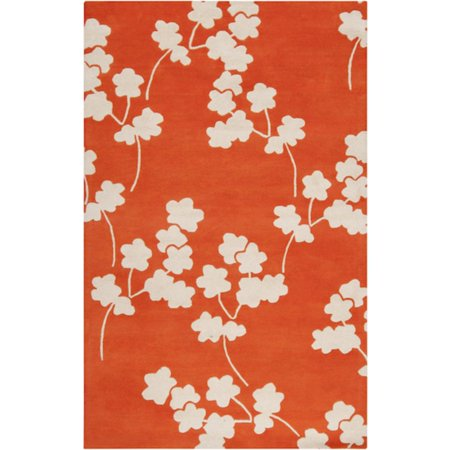 2' x 3' Falling Flower Papyrus and Neon Orange Wool Area Throw Rug