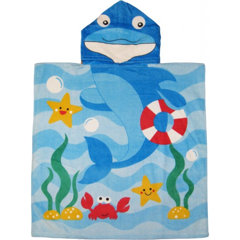 Dolphin and Sea Friends Hooded Beach Kids Bath Towel by Kreative
