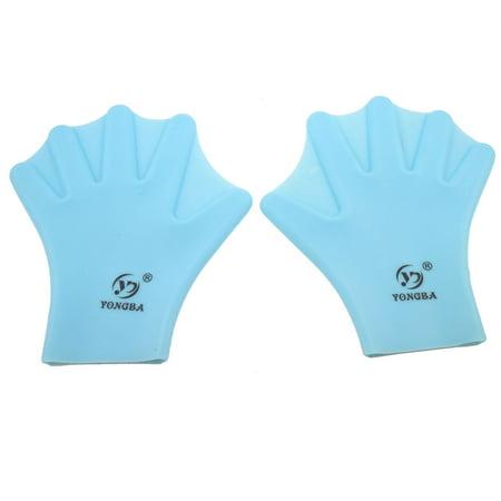 Unique Bargains Unisex Soft Silicone Swimming Diving Swim Webbed Hand Gloves Light Blue 2 Pcs