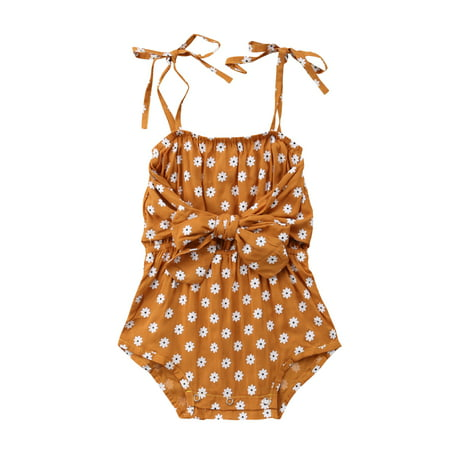 0433d8d8c CHRONSTYLE - Newborn Baby Girls Floral Romper Spaghetti Strap Bowknot  Jumpsuit Summer Outfit Clothes - Walmart.com